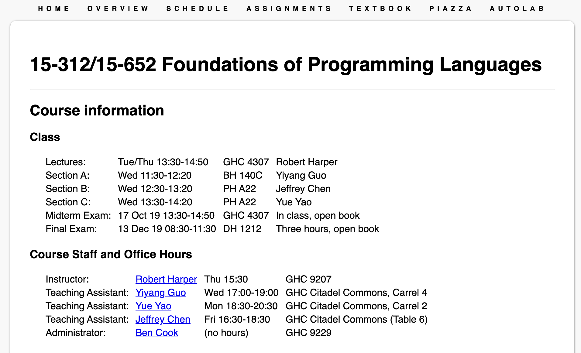 "Fall 2019 instance of ""Foundations of Programming Languages"""