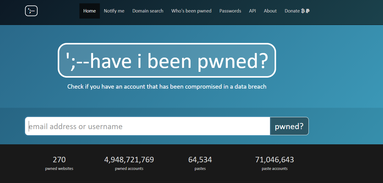 "Screenshot of ""Have I benn pawned"" website at 'https://haveibeenpwned.com'"